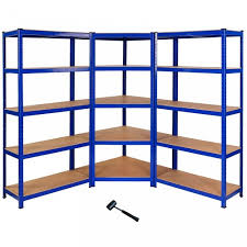 2x steel blue racking garage shelving bays and 1x metal corner racking warehouse shelving 5 tier bay heavy duty 908332 jpg