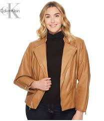 calvin klein coats and jackets plus size faux leather jacket w piping vicuna for