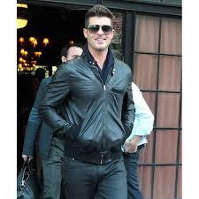 er style robin thicke black leather jacket