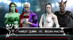 WWE 2K17 HARLEY QUINN vs REGAN MACNEIL (with POISON IVY / BLAIR WITCH)  Single Match (PS4 CAW DIVA) - YouTube