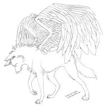 white wolf with wings drawing. Free Winged Wolf Lineart By Cederin On DeviantArt Jpg Transparent Stock Simple Drawings Banner And White With Wings Drawing