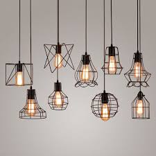 retro iron wire cage hanging lamp shade pendant light chandelier shade black