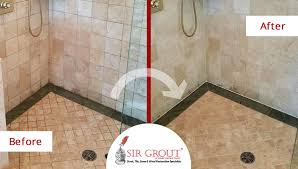 before and after picture of a beautiful stone shower brought back to life with a grout