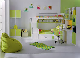 Fabulous Teen Girl Bedroom With Green Bean Bag Chair Also White Loft