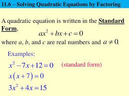 11 6 solving quadratic equations by factoring