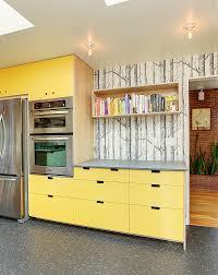 Peach Kitchen Dark Brown Cabinets Peach Wallpaper White Refrigerator And