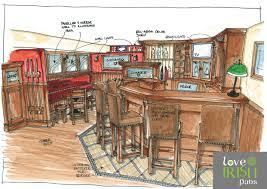 Pub Design Plan Irish Home Bar Design Sketch By Love Irish Pubs Love
