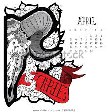 Page Astrological Calendar Aries Tattoo Vector Stock Vector Royalty