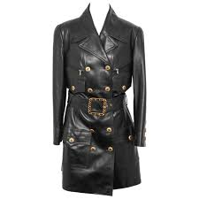vintage chanel amazing leather trench coat with cc ons and belt for