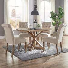huntington beige linen on tufted dining chair set of 2