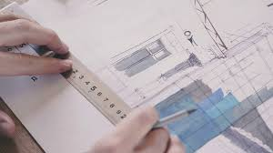 office drawing tools. Drawings, Design Project And Tools For Drawing (pencil, Ruler). Engineering On Work Table Architectural Project. Office B