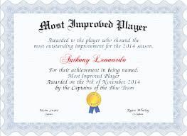 Most Improved Player Certificate Created With