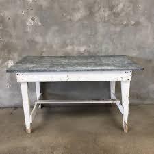 white farm table. White Farm Table With Galvanized Metal Top