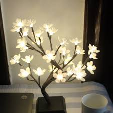 led lamp tree with blossom