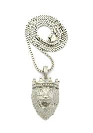 2018 spring mens hip hop iced out silver lion king pendent box rope cuban chain necklace 75204