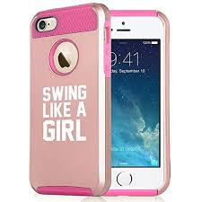 iphone 5s gold case for girls. apple iphone 5 5s rose gold shockproof impact hard soft case cover swing like a girl golf softball kettlebell (rose gold-hot pink) iphone for girls