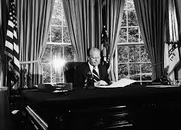 nixon office. Sitting Behind His Desk In The Oval Office, President Gerald R. Ford Prepares To Read Text Of Nixon Pardon Office