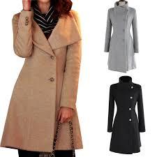 las belted jacket long sleeve slim cut peacoat womens trench coat size vancy