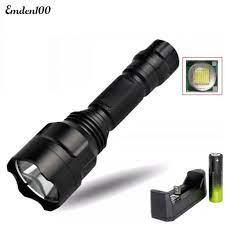 Đèn pin cầm tay lõi nhôm siêu sáng có 5 chế độ 5000lm C8 Q5 18650 kèm phụ  kiện - Đèn ngoài trời Hãng No Brand