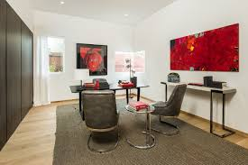 contemporary artwork home office designs white walls large area rug home office design ideas home office designs red accents contemporary home office light