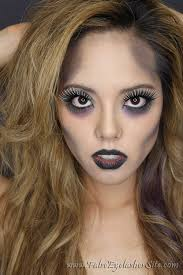 zombie makeup look with costume fake eyelashes