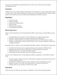 Post Office Counter Clerk Sample Resume