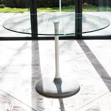 notting clear glass top and white gloss column 80cm round dining table concrete base
