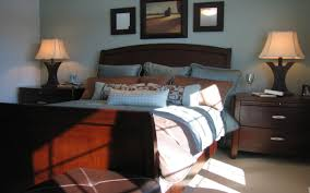 Masculine Bedroom Blue Brown Interior Beautiful Design
