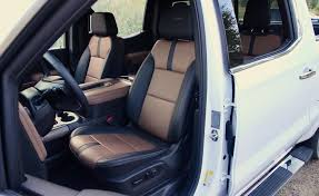 2019 chevrolet silverado high country black and brown leather interior front seats