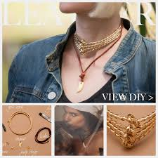 a mix of texture and shapes make this gold cord leather necklace diy a unique piece of jewelry and perfect to pair with denim or any natural materials