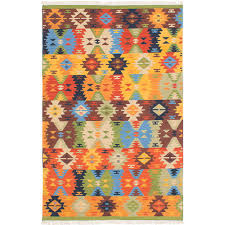 ecarpet gallery mamaris c313 emerald green orange wool kilim 4 ft x 6 ft