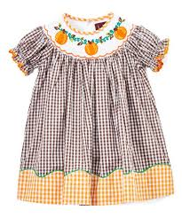 Lil Cactus Brown Orange Gingham Pumpkin Smocked Bishop Dress Girls
