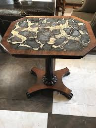 oak side table with marble top