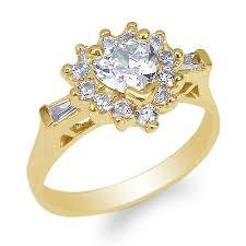 Beautiful Halo Size Chart Jamesjenny Womens 10k Yellow Gold Heart Cz Beautiful Halo Ring Size 4 10 Ebay