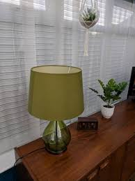 glass table lamp and matching shade with chrome effect base