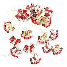 15 Kleine Schaukelpferd Weihnachten Anhänger In Rot Orange