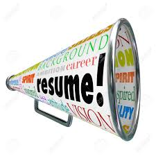 The word Resume on a bullhorn or megaphone to sell or communicate your  skills, background