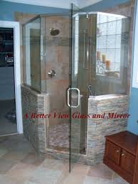 custom glass neo angle shower door with brushed nickel header with robe hook for shower glass