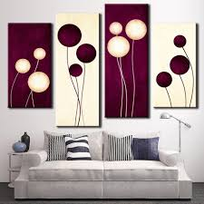 4 pcs set abstract wall art simple purple white circles balloon intended for most recently