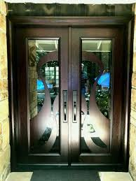 modern double entry doors wood front with custom glass mid century image of door