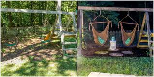 how to make a diy grown up swing set how to transform a kid s swing set