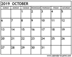 2019 October Calendar Free Printable Calendar Oct 2019 October 2019 Calendar Printable
