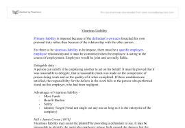 vicarious liability university law marked by teachers com document image preview