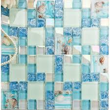 K Green Crackle Glass Mosaic Tile Kitchen Backsplash Wall Bathroom Shower  Resin Conch Designs Decor