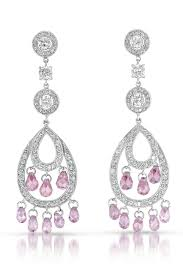flawless cubic cubic zirconia and sterling silver pink chandelier earrings