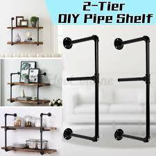 2 tier industrial wall shelf bracket