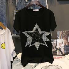 <b>Women Diamond Stars Design</b> T Shirt Cotton Ladies Black Shirt ...