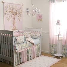 Designs Ideas:Elegant Pink Nursery With White Floral Baby Crib Also Small  Soft Pink Rug