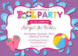 girls pool party invitation pool party birthday invitation pool party birthday invitation thank you card included 15 00 via