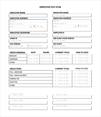 Payroll Check Stub Template Free Free Pay Stub Templates Under Fontanacountryinn Com